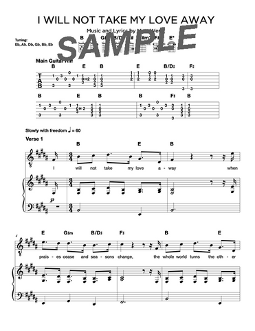 I Will Not Take My Love Away Chords/Sheet Music (Digital)