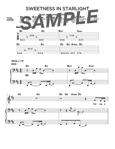 Sweetness in Starlight Chords/Sheet Music (Digital)