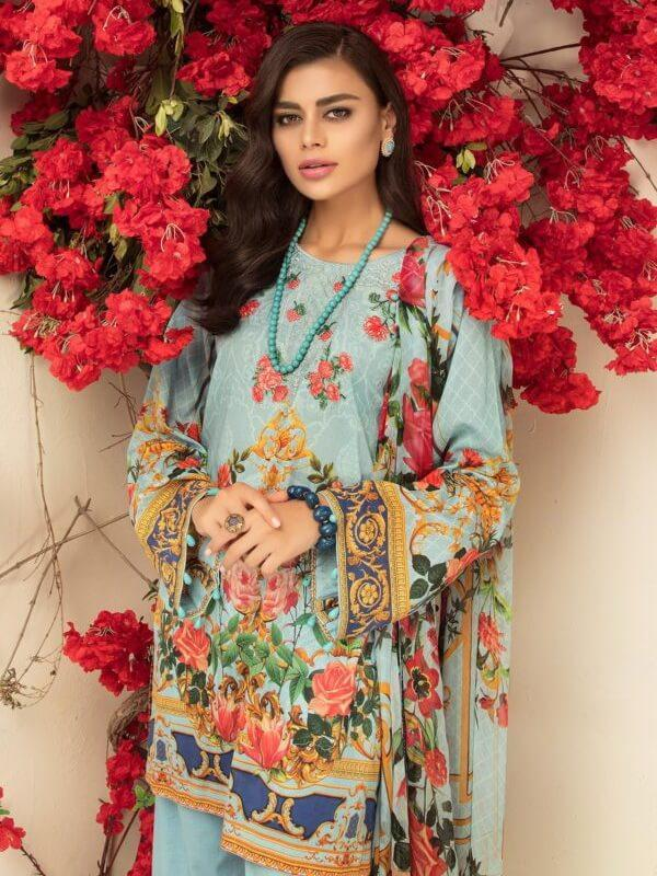 08643a13ac Micconi by Reemal Khan Embroidered Lawn 3 Piece Suit 01 A Ice Blue ...