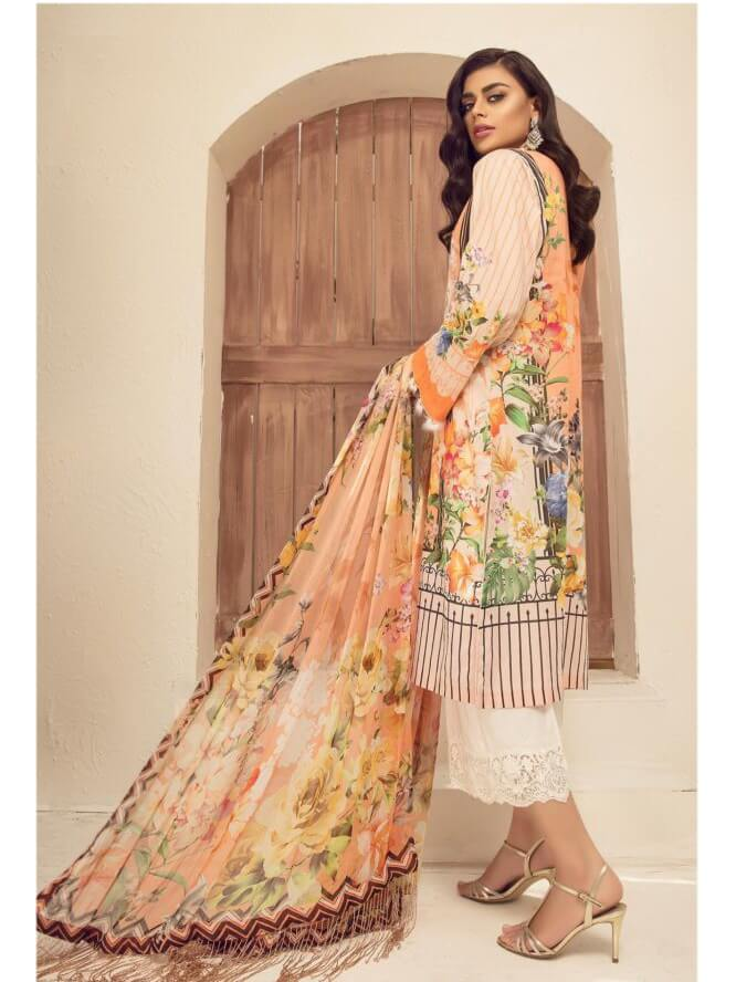 ad3340e1d1 Micconi by Reemal Khan Embroidered Lawn 3 Piece Suit 02 A Peach Flow ...