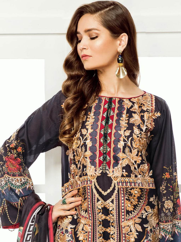 BAROQUE Eid Lawn Collection 2019 3PC Embroidered Suit D 03 Mahgul - faisalfabrics-pk