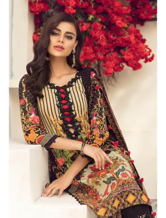 c736e53998 Micconi by Reemal Khan Embroidered Lawn 3 Piece Suit 04 B Blic Tint ...