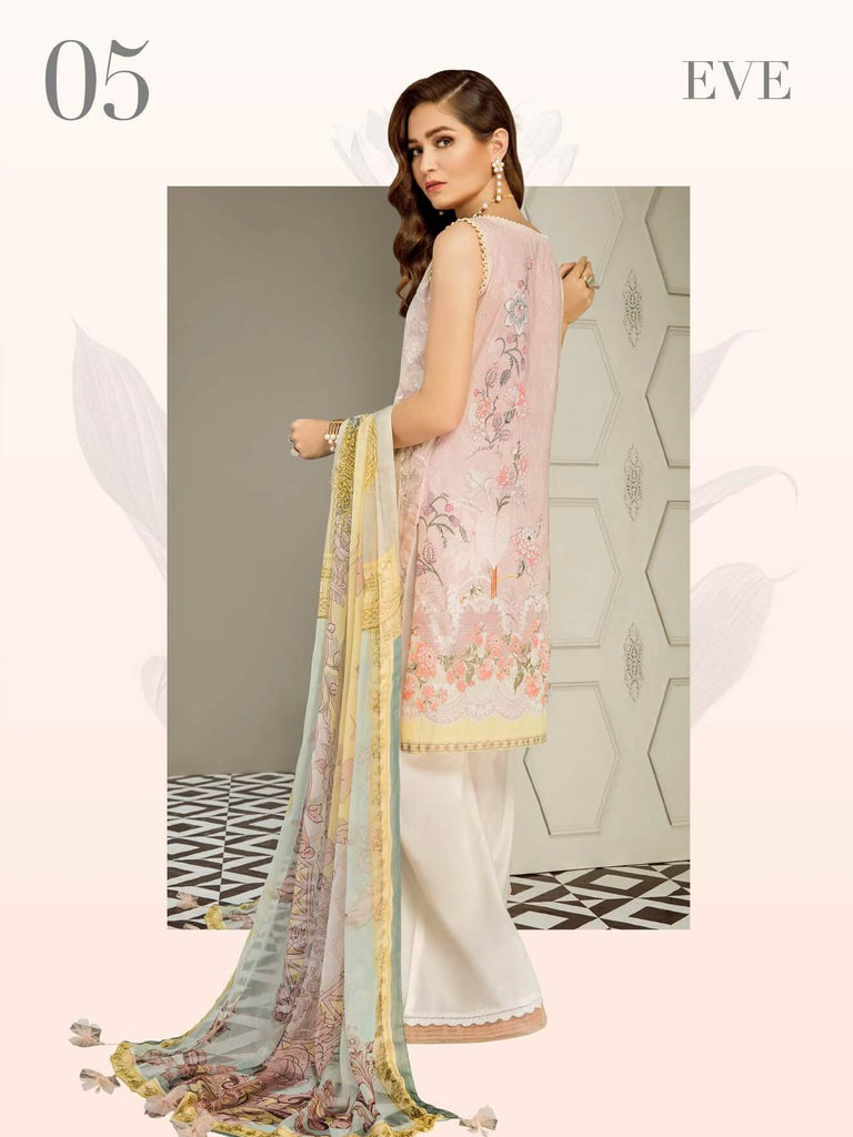 BAROQUE Eid Lawn Collection 2019 3PC Embroidered Suit D 05 Eve