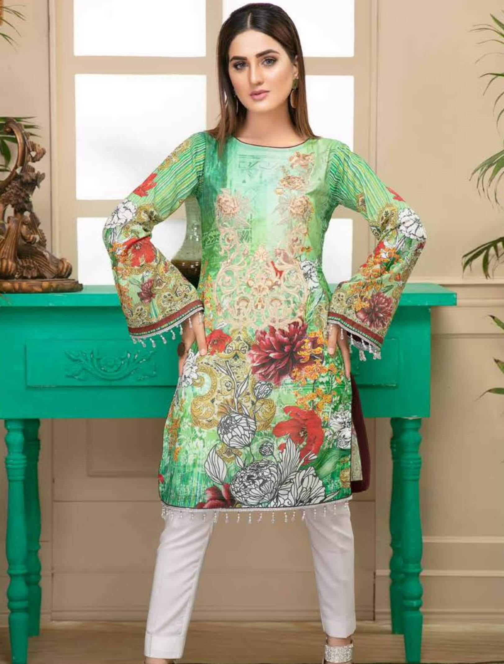 Al Kareem Digital Embroidered Lawn Kurti Collection 2019 ALK 05 - FaisalFabrics.pk