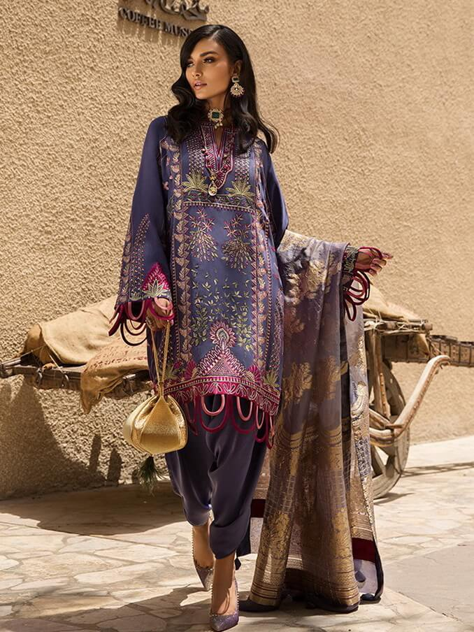 ad8ca23316 ELAN Festive Embroidered Chiffon 3PC Suit Eid Collection 2019 06 Nur ...