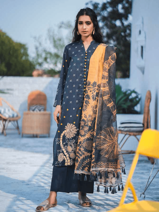 Cross Stitch Embroidered Toile Lawn Summer 2019 3PC Suit SAFFRON TROOP - FaisalFabrics.pk