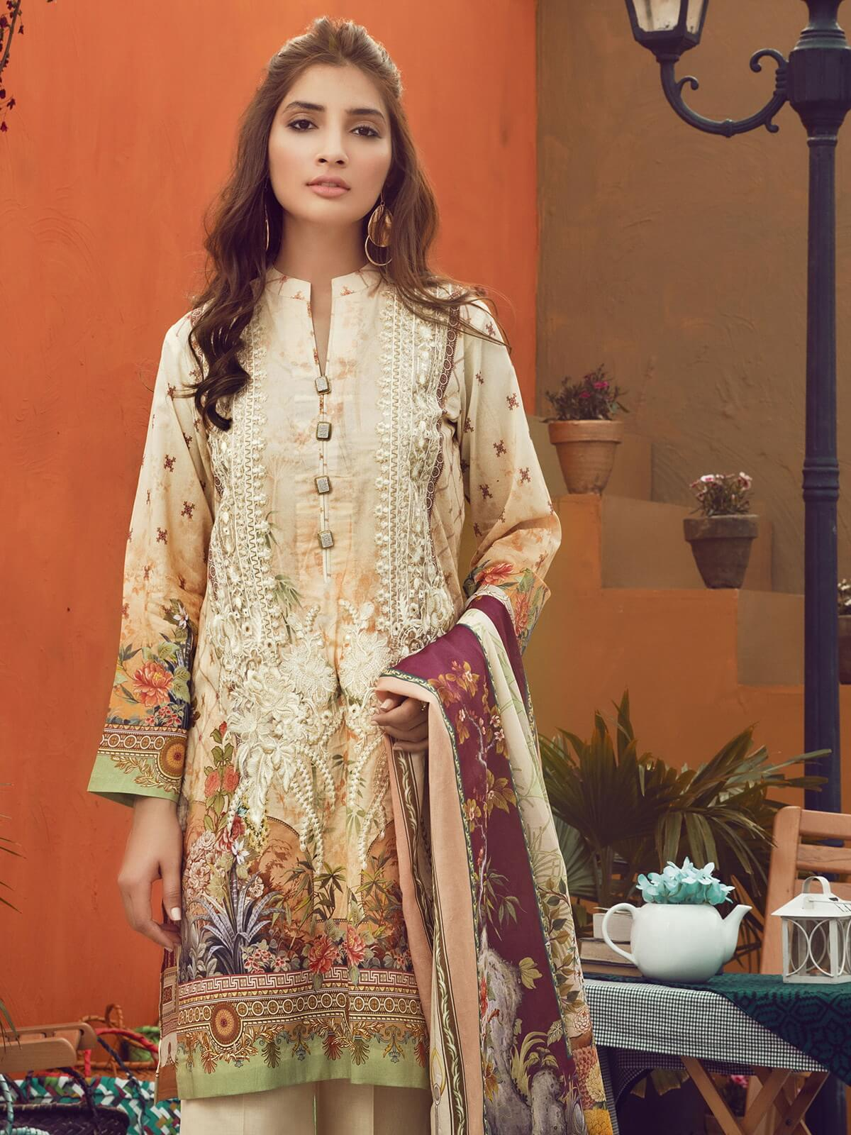 RajBari Supreme Voile Embroidered Lawn Collection 2019 3pc Suit 07A - FaisalFabrics.pk