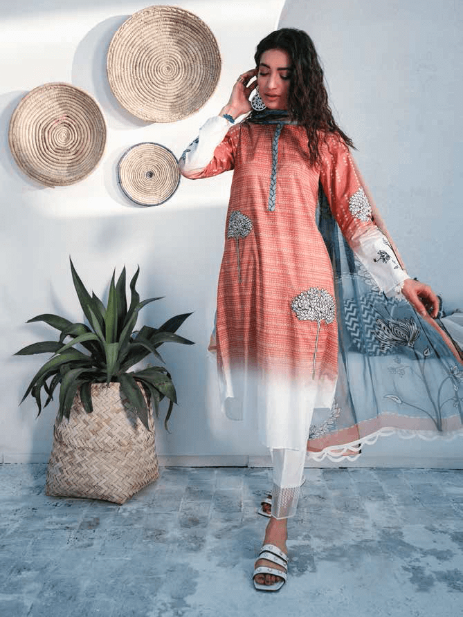 Cross Stitch Embroidered Toile Lawn Summer 2019 3PC Suit OMBRE STITCH - FaisalFabrics.pk