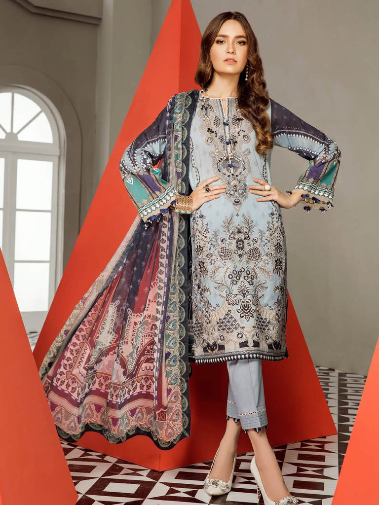 BAROQUE Eid Lawn Collection 2019 3PC Embroidered Suit D 09 Azora