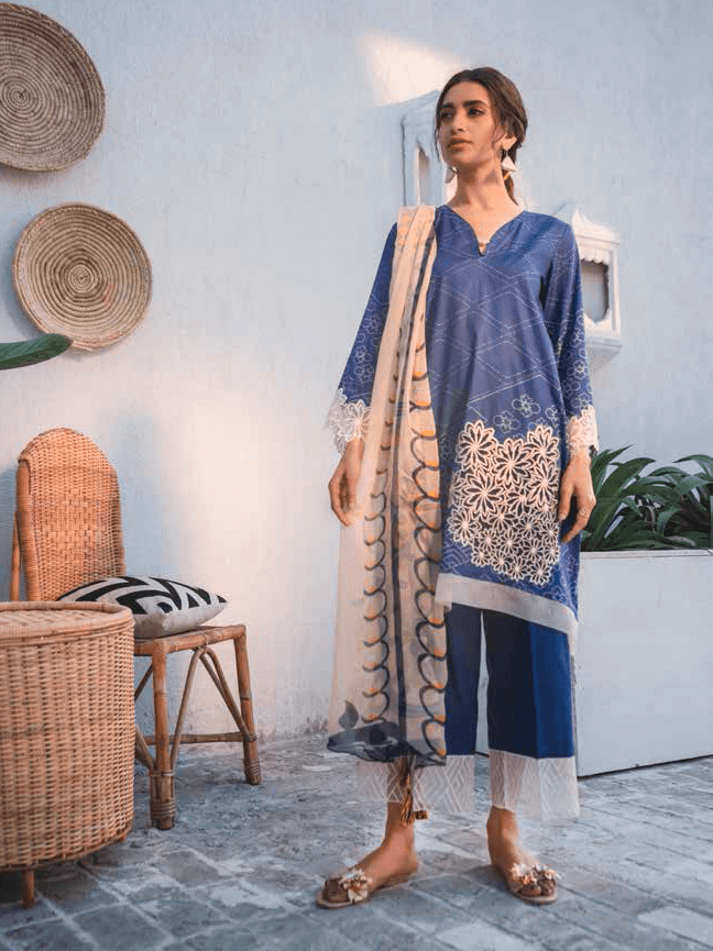 Cross Stitch Embroidered Toile Lawn Summer 2019 3PC Suit ELECTRIC FLECK - FaisalFabrics.pk