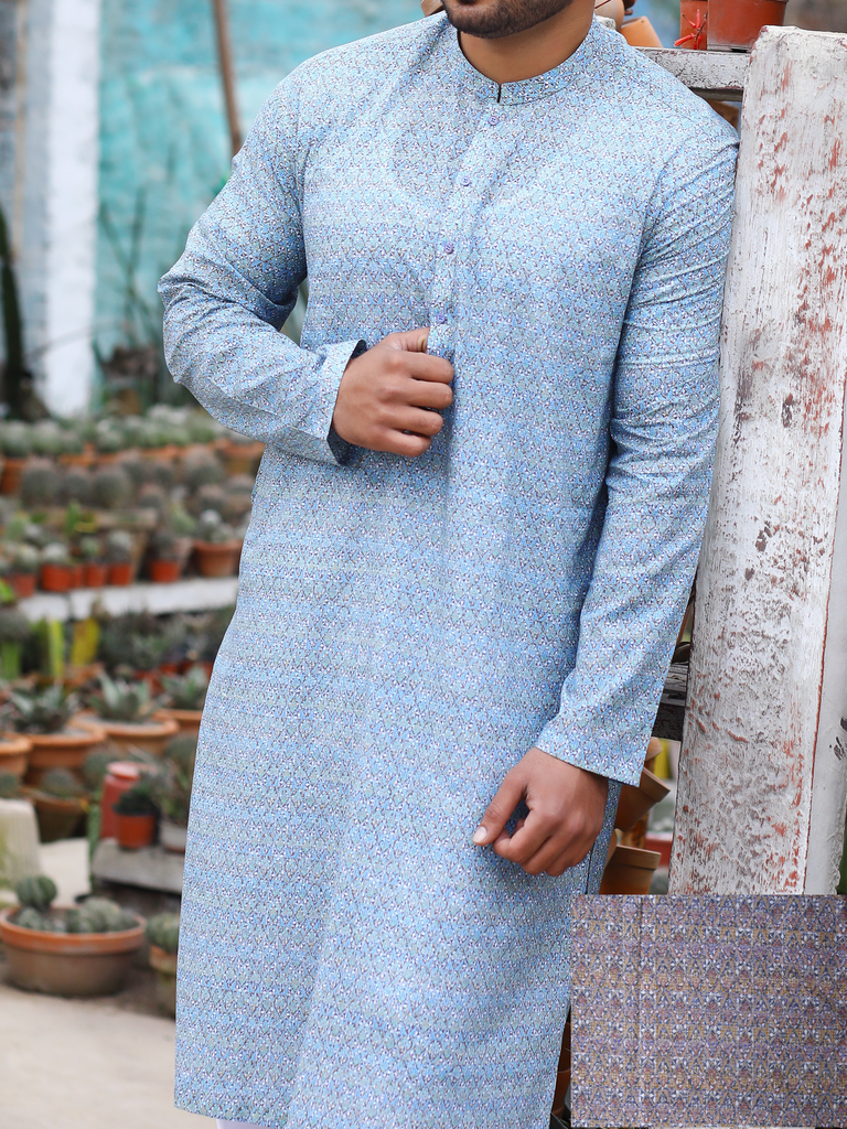 DEWAN-E-KHAS Men's Digital Kurta Shalwar for Summer NCDK-102-B Brown - FaisalFabrics.pk