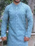 DEWAN-E-KHAS Men's Digital Kurta Shalwar for Summer NCDK-107-A Blue - FaisalFabrics.pk