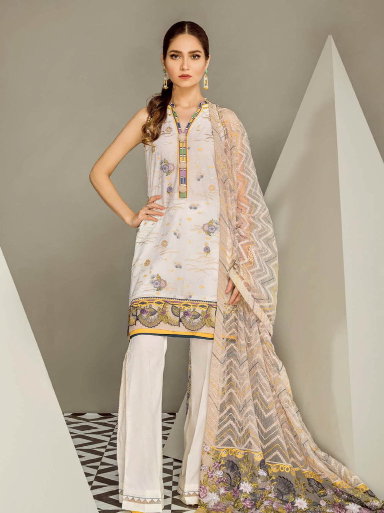BAROQUE Eid Lawn Collection 2019 3PC Embroidered Suit D 10 Madonna Lily - FaisalFabrics.pk