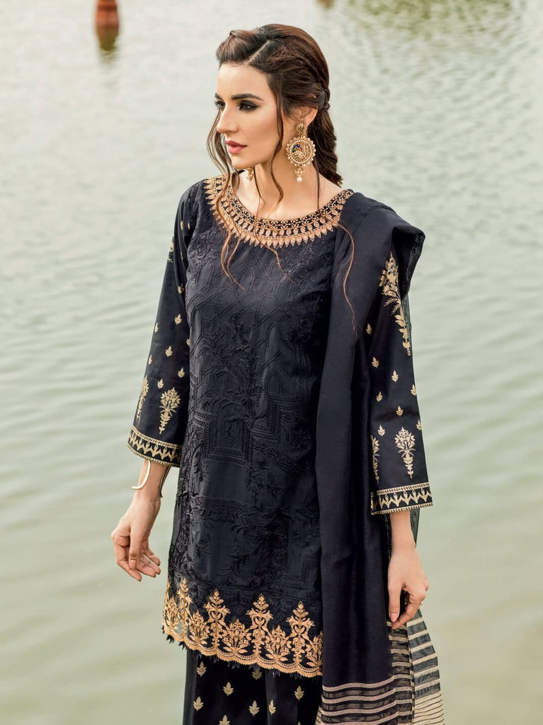 Iznik Festive Lawn Eid Collection 2019 3PC Eomroidered Suit 11 Seyah-Aswad