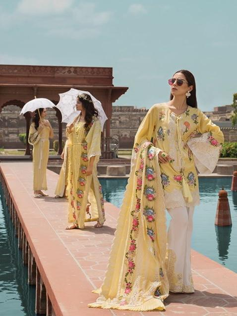 a9eb442e49 Crimson Luxury Lawn Eid Collection 2019 3PC Embroidered Suit 1B Canary  Yellow