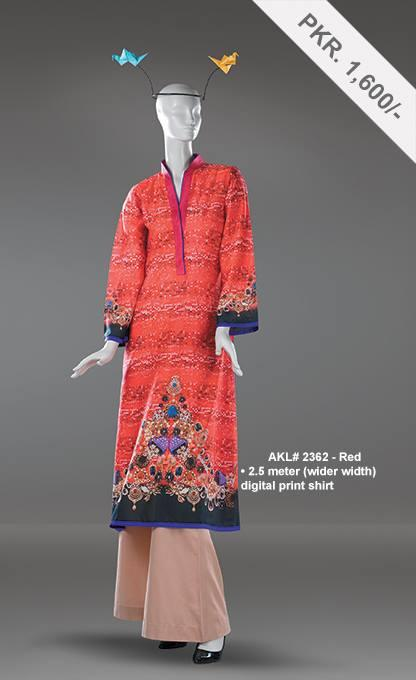 Alkaram Studio - Unstitched Printed Single Shirt - AKL 2362 Red - FaisalFabrics.pk