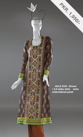 Alkaram Studio - Unstitched Embroidered Single Shirt - AKL 2333 Brown