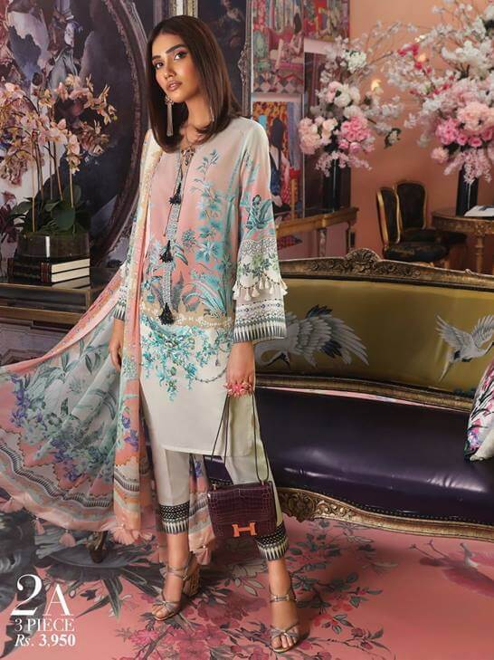 Sana Safinaz Muzlin Luxury Lawn Vol-2 Unstitched 3PC Suit SS-19-2A - FaisalFabrics.pk