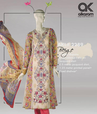 Alkaram Studio - 3 Pc unstitched suit - AKL 2289 Beige