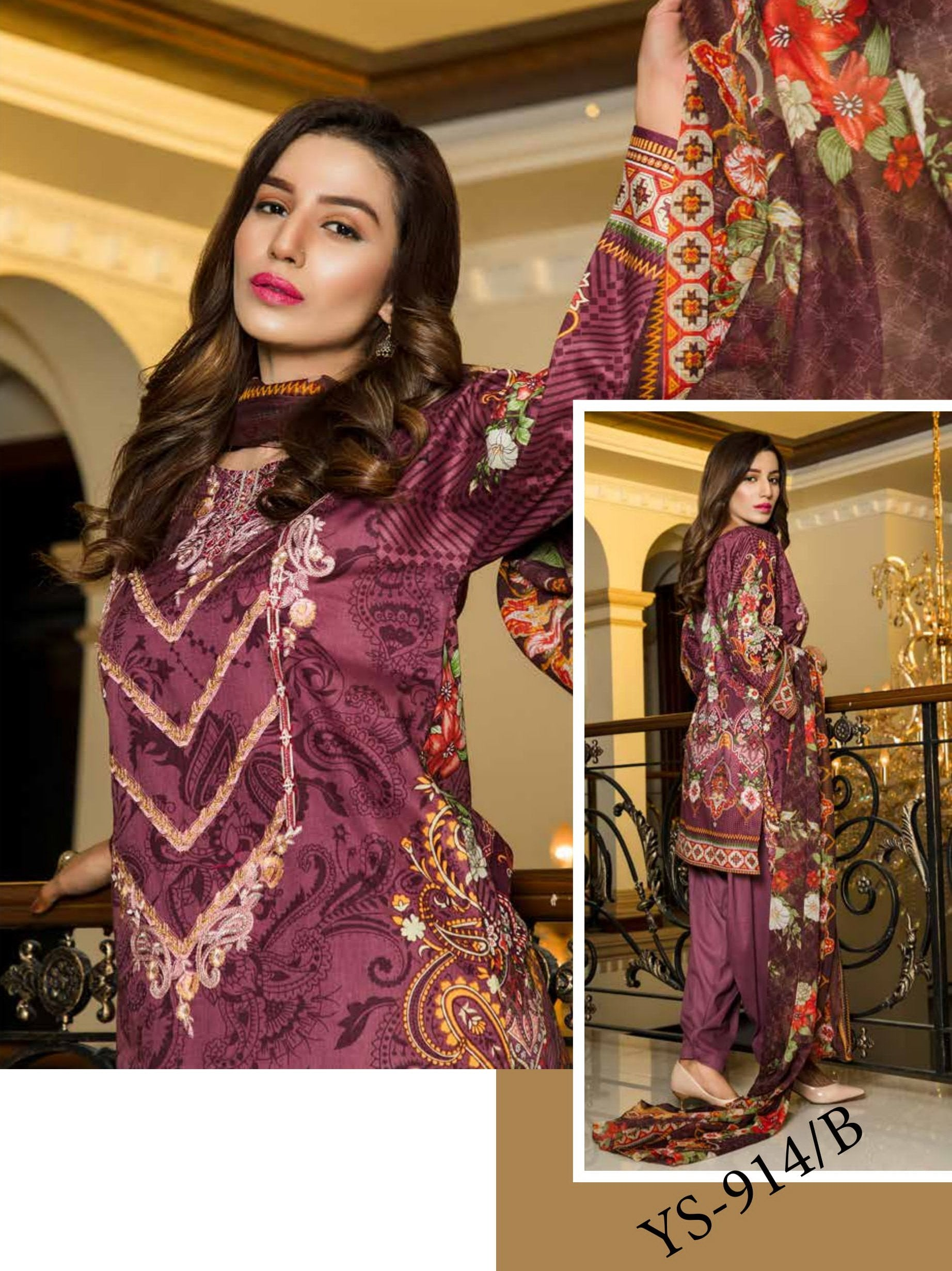 Yashfeen Premium Lawn 2019 Embroidered 3 Piece Suit YS-914/B - FaisalFabrics.pk