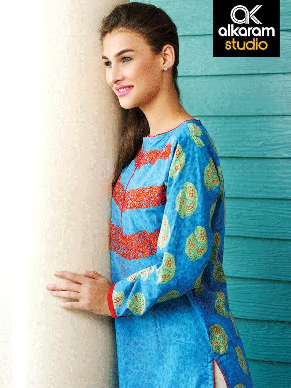Alkaram Studio Paisley Collection-Kurta AKL 2677-Blue - FaisalFabrics.pk
