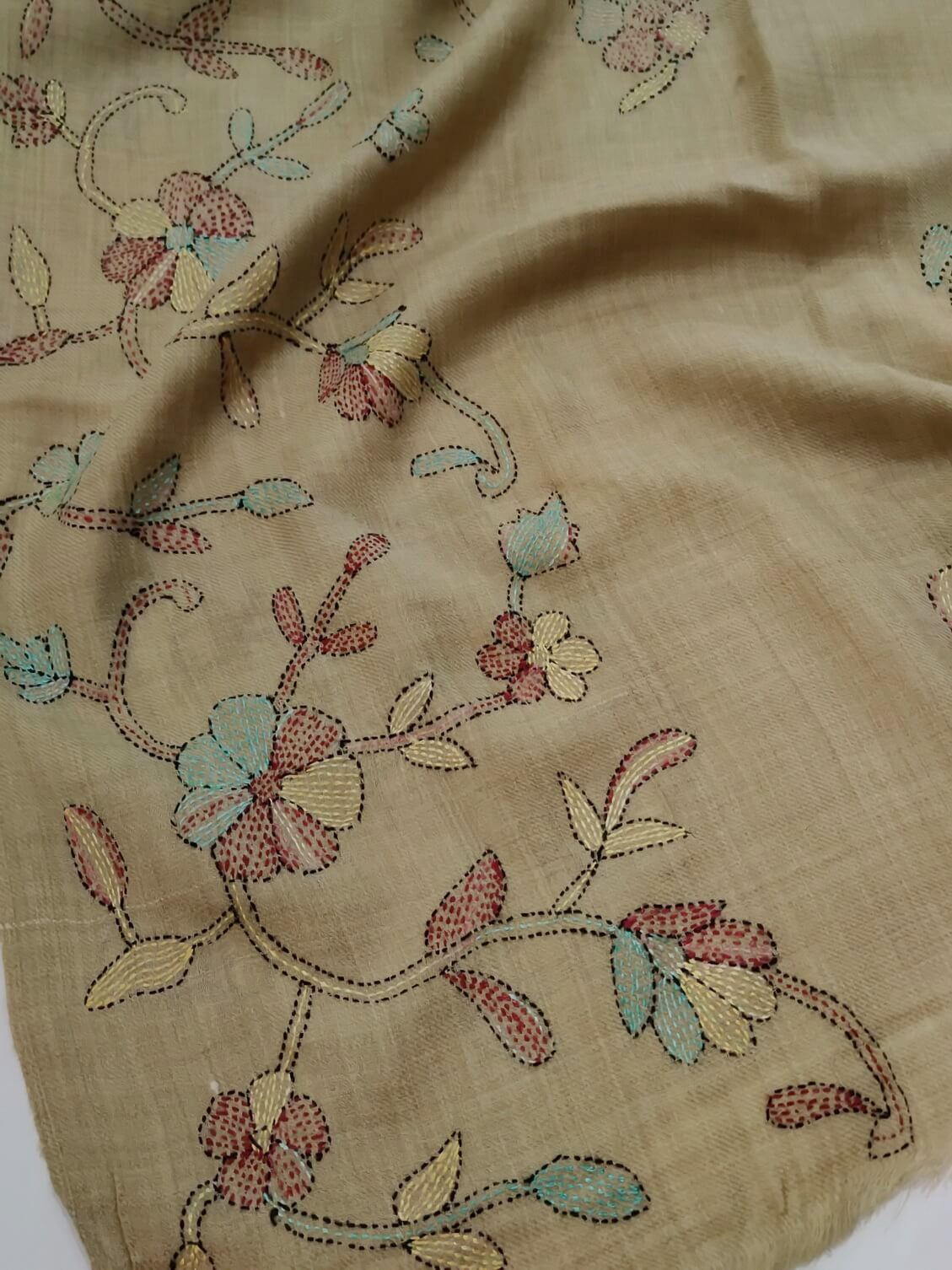 Womens Pashmina Wool Shawl with Embroidery Border work AMS-16