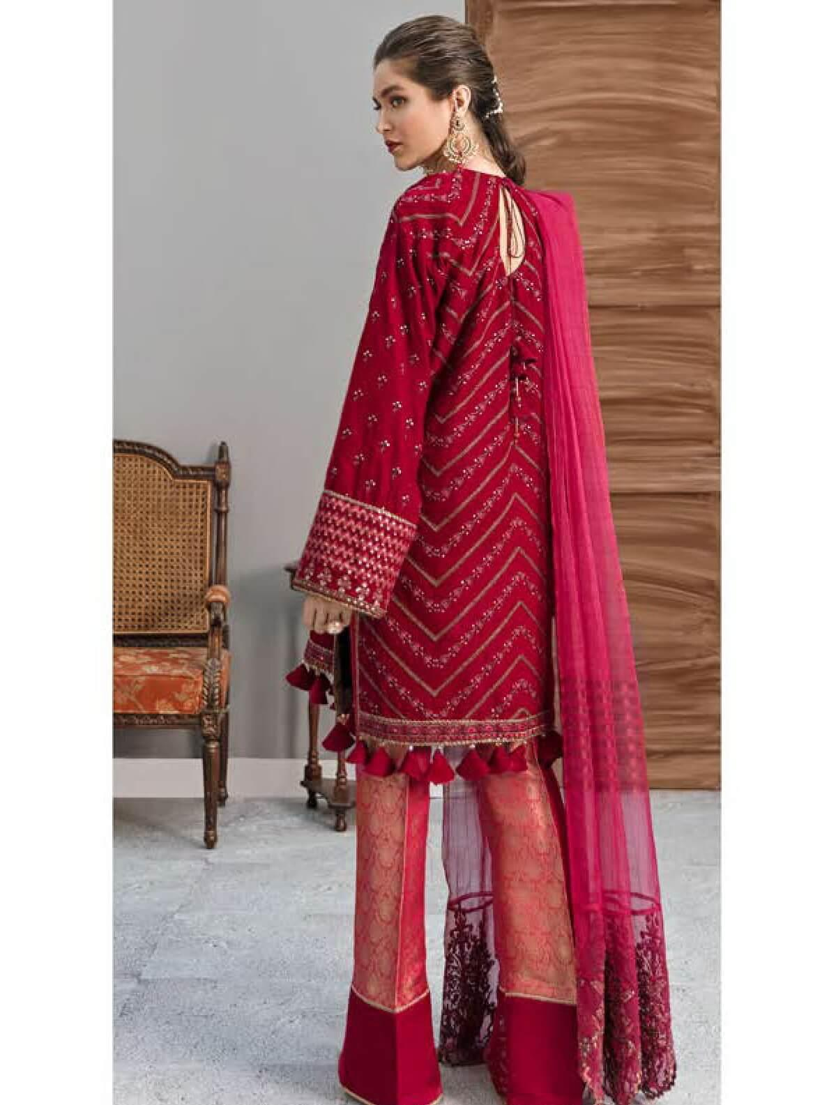 Afrozeh Naghma Luxury Velvet Embroidered 3 Piece Suit 09-Phool Jari