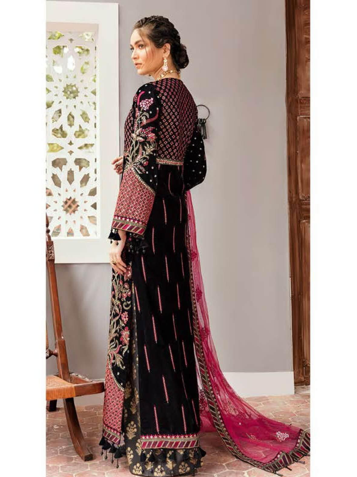 Afrozeh Naghma Luxury Velvet Embroidered 3 Piece Suit 10-Kali