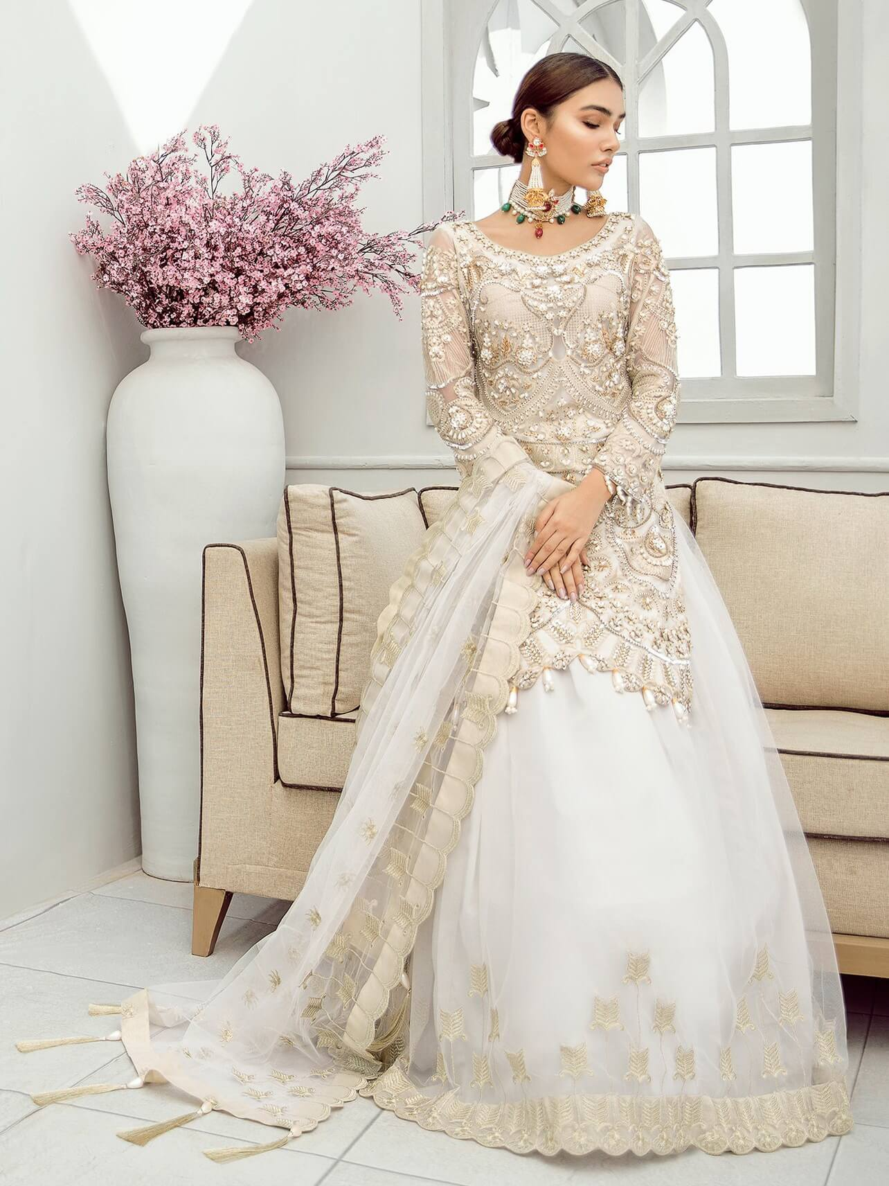 Akbar Aslam Luxury Chiffon Collection 2020 3pc Suit AAC-1308 SNOWDROP - FaisalFabrics.pk