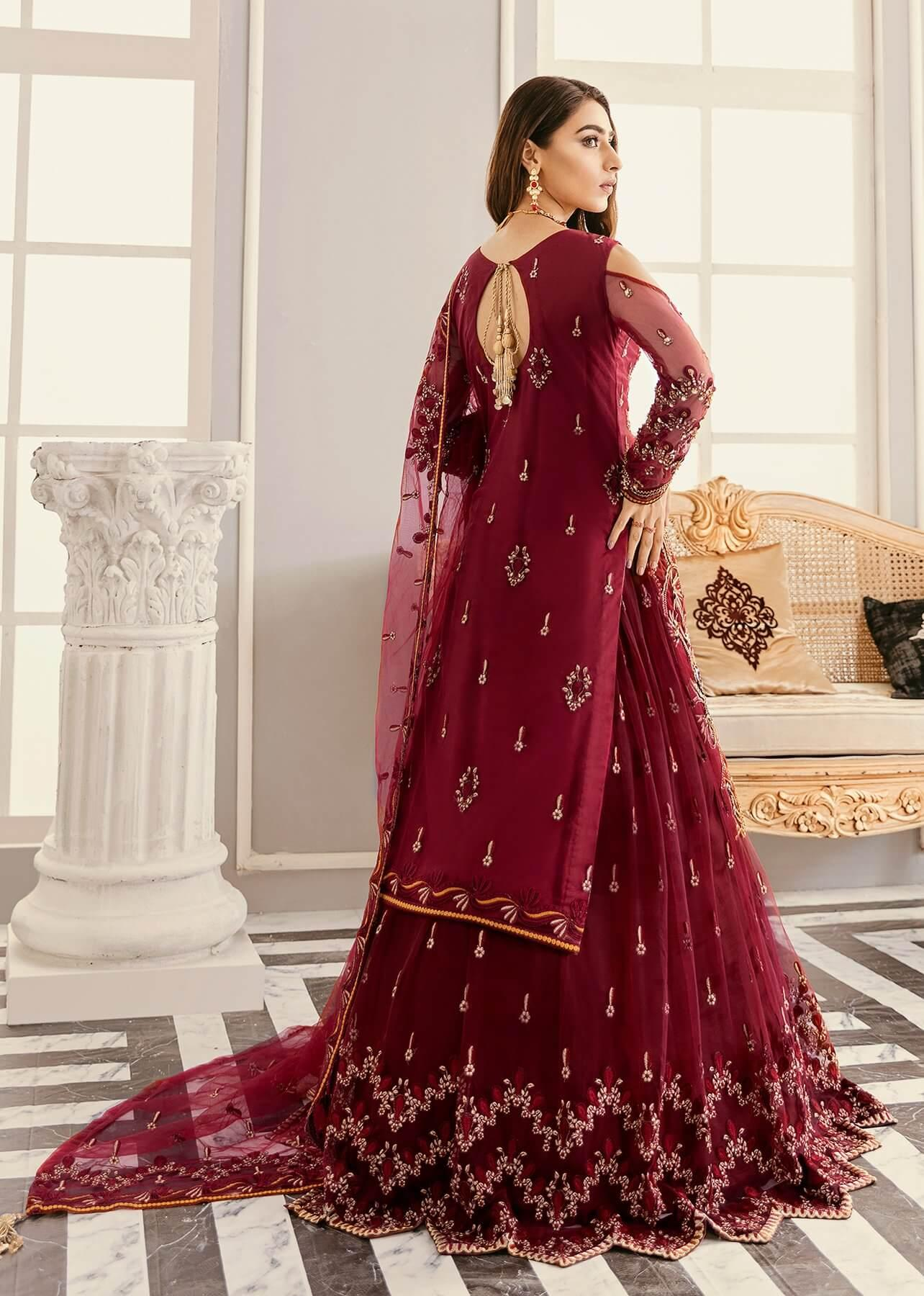 Akbar Aslam Libas e Khas Wedding Collection 3pc Suit AAWC-1328 AMARYLLIS