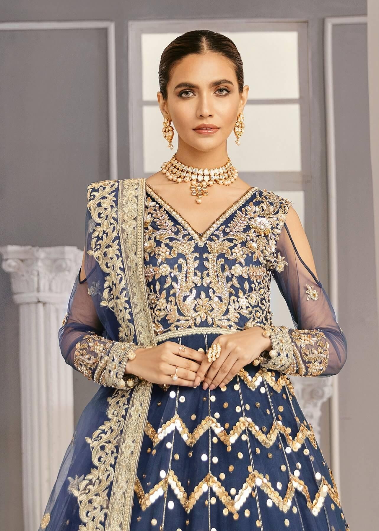 Akbar Aslam Libas e Khas Wedding Collection 3pc Suit AAWC-1329 PERIWINKLE