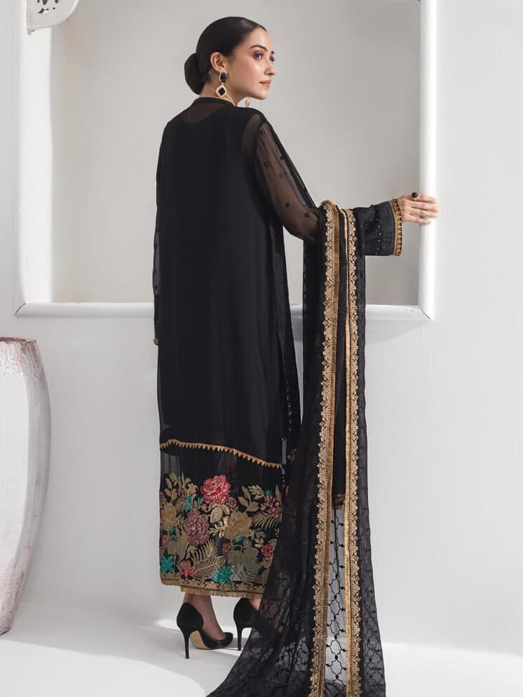 Baroque Alizeh Embroidered Chiffon 3Pc Suit D-02 Midnight Glare