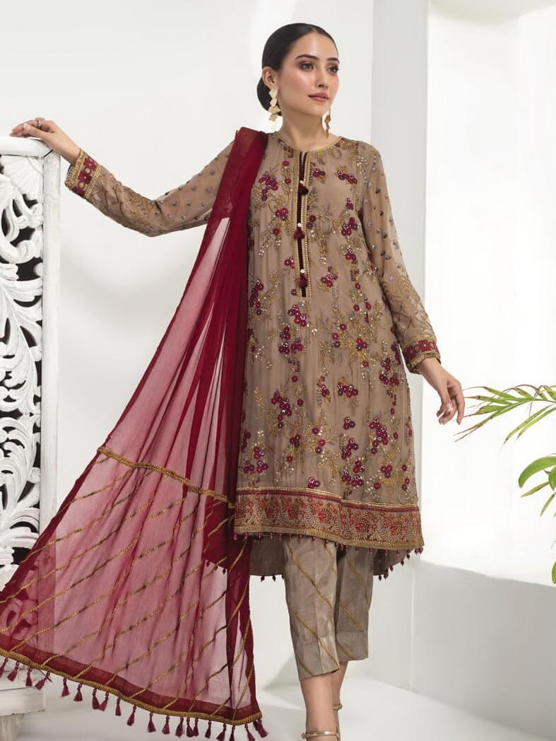 Baroque Alizeh Embroidered Chiffon 3Pc Suit D-03 Golden Beige