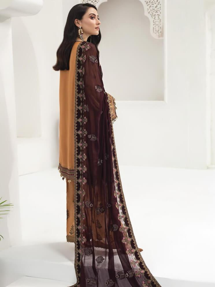 Baroque Alizeh Embroidered Chiffon 3Pc Suit D-07 Royal Amber