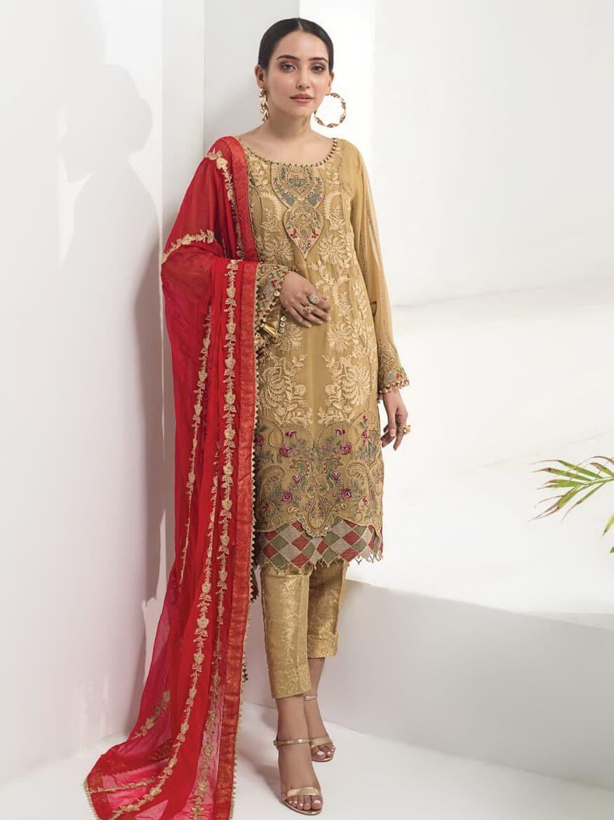 Baroque Alizeh Embroidered Chiffon 3Pc Suit D-10 Masetic Tuscan