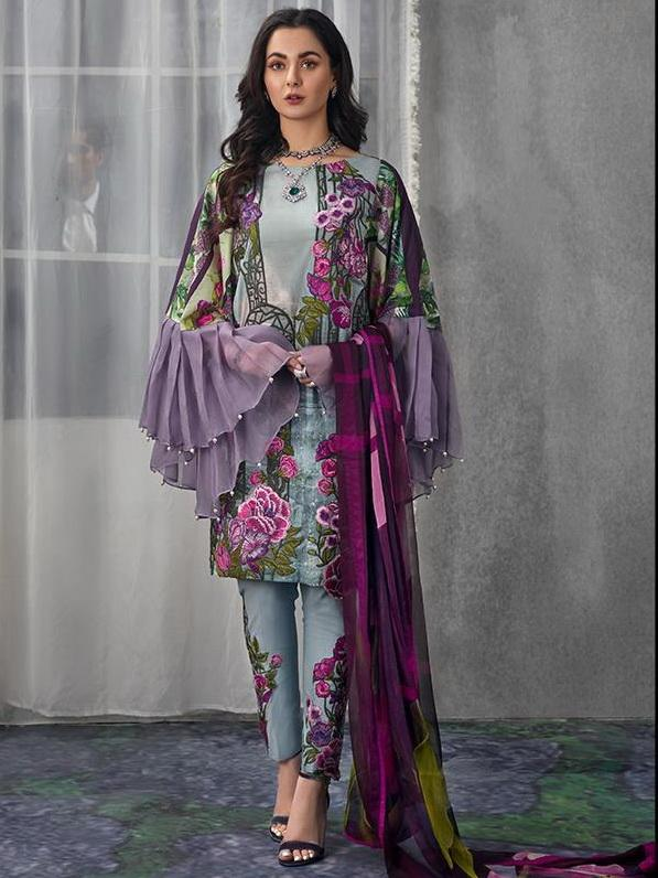 Asifa Nabeel Embroidered Lawn 3 Piece Suit AN19 3H Spring Summer 2019 - FaisalFabrics.pk