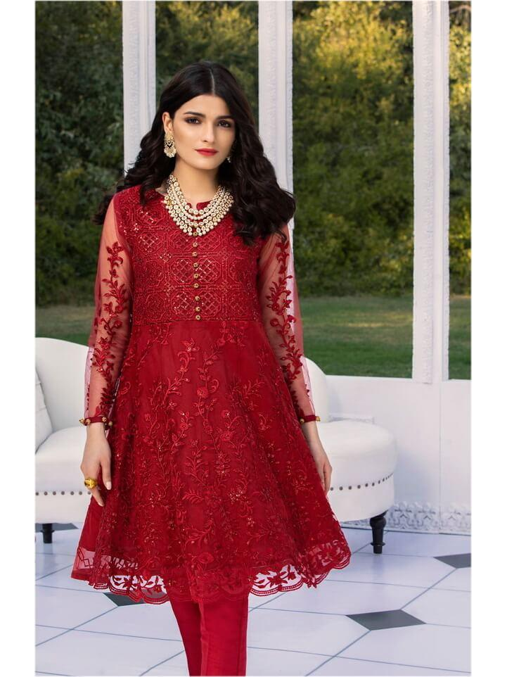 AZURE Luxury Formals VOL-2 Embroidered Net Kurti AZ-03 Scarlet Embody - FaisalFabrics.pk