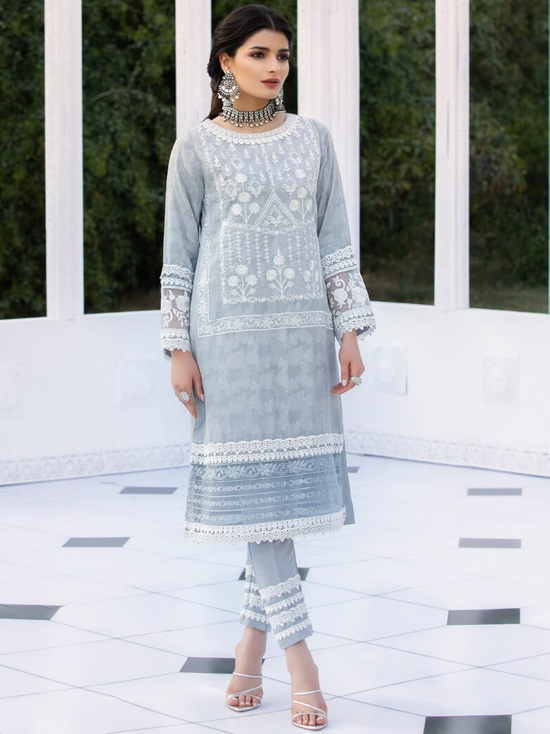 AZURE Luxury Formals VOL-2 Embroidered Cotton Net Kurti AZ-08 Damask Tale - FaisalFabrics.pk