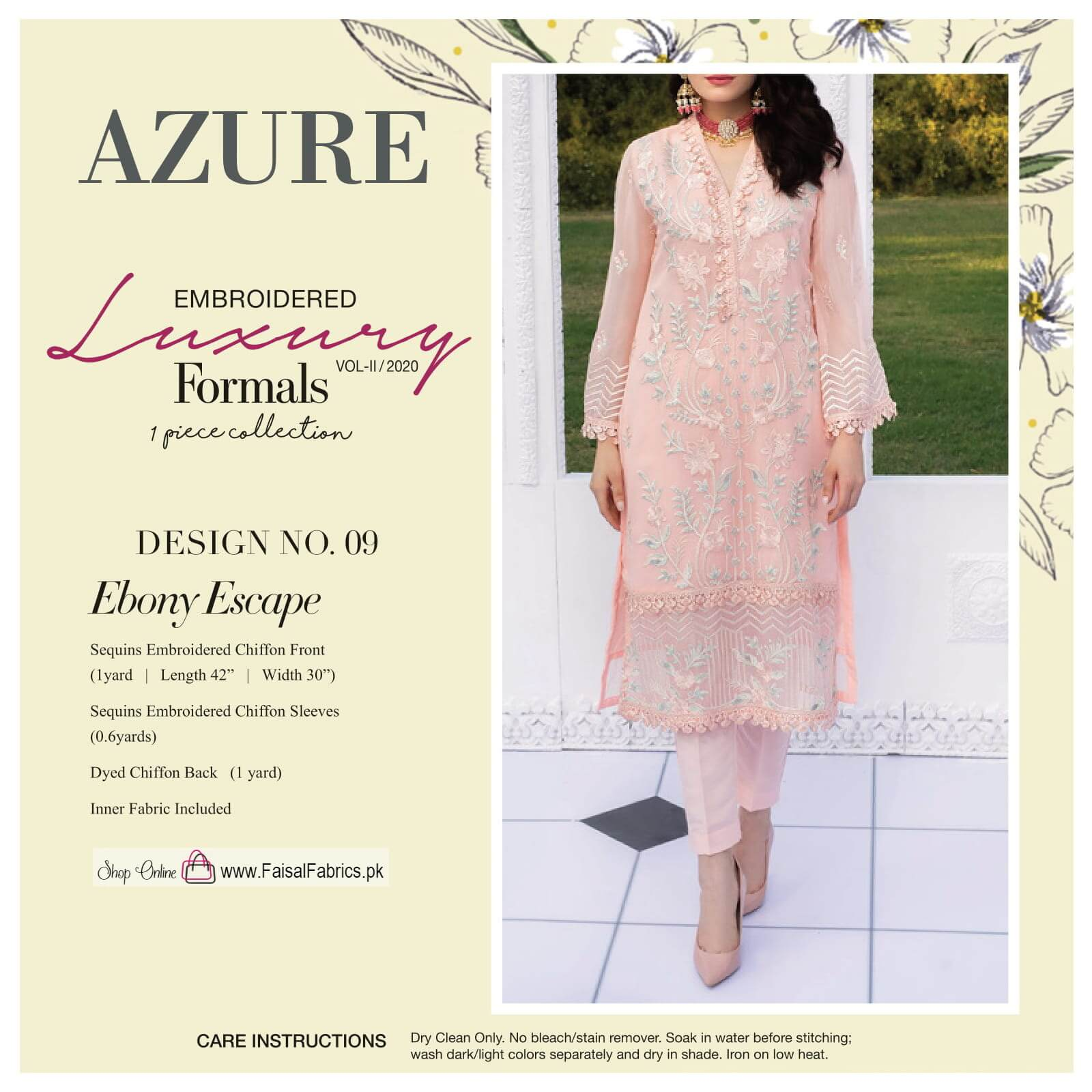 AZURE Luxury Formals VOL-2 Embroidered Chiffon Kurti AZ-09 Ebony Escape - FaisalFabrics.pk