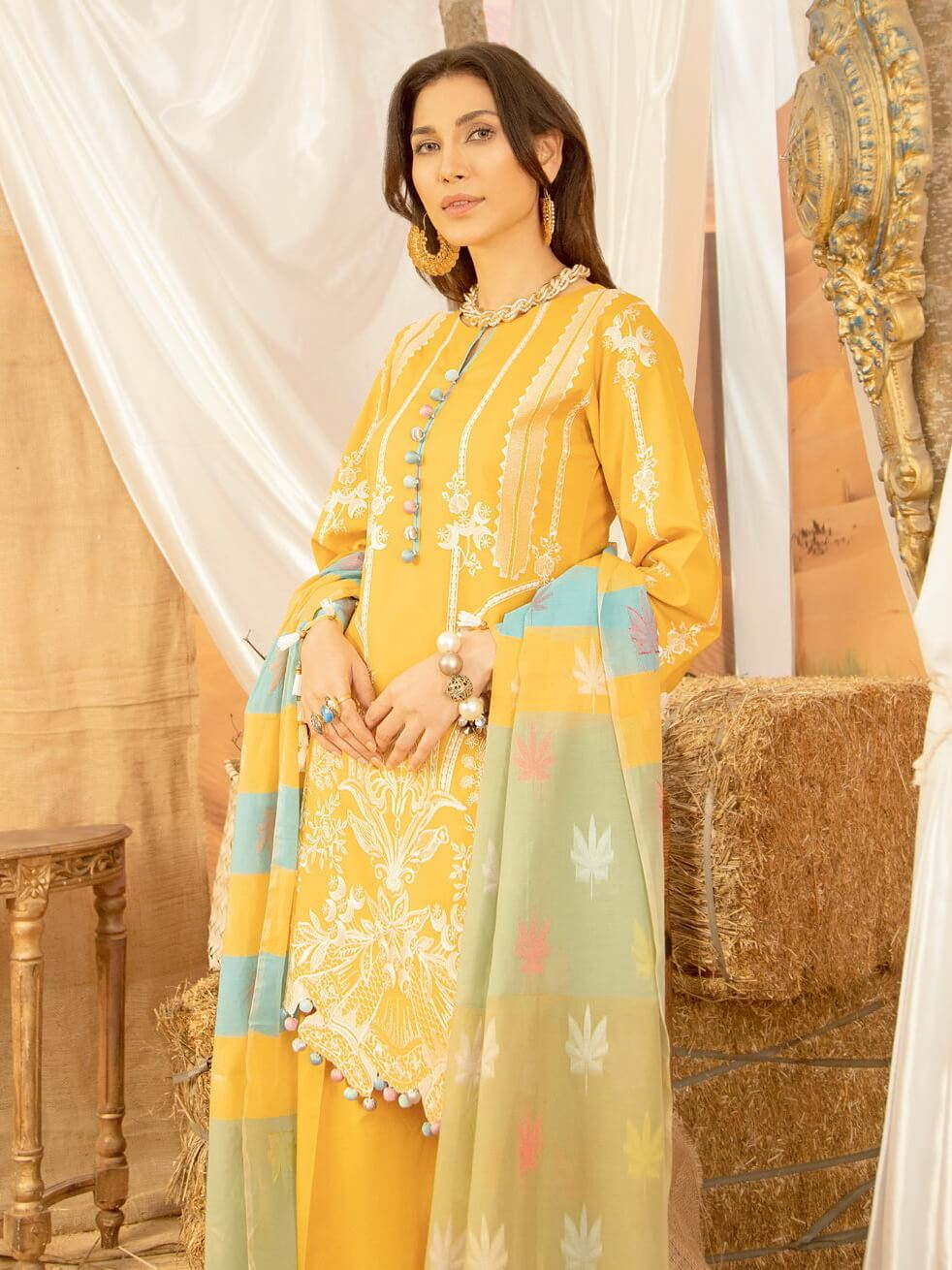 BIN ILYAS Lawn Eid Collection 2020 Embroidered 3 Piece Suit BI-4A - FaisalFabrics.pk