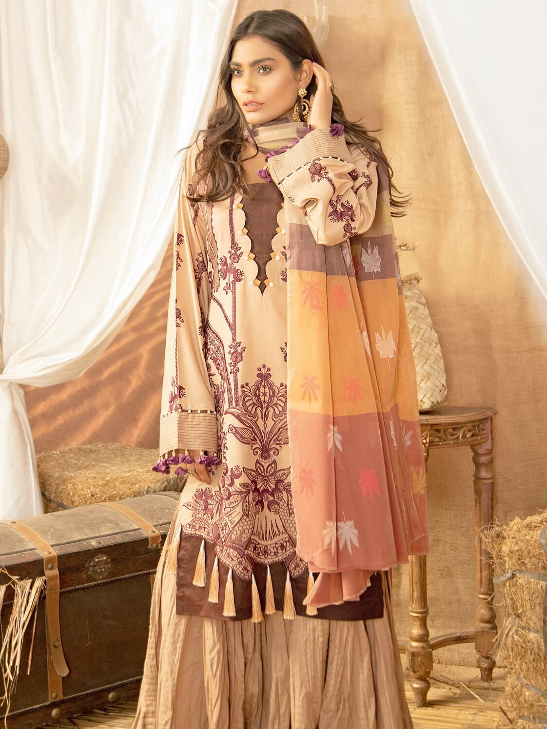 BIN ILYAS Lawn Eid Collection 2020 Embroidered 3 Piece Suit BI-4B - FaisalFabrics.pk