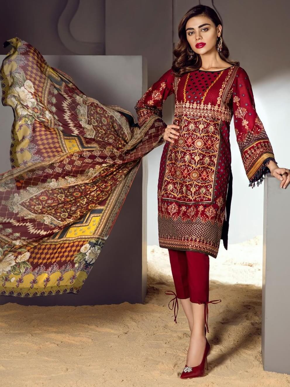 BAROQUE Luxury Swiss Lawn Embroidered 3Pc Suit Summer D-10 Ruby illustrate - FaisalFabrics.pk