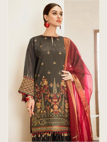 Baroque Embroidered Chiffon 3 Piece Suit Blue Fantasy C-13 Dark Grey - FaisalFabrics.pk