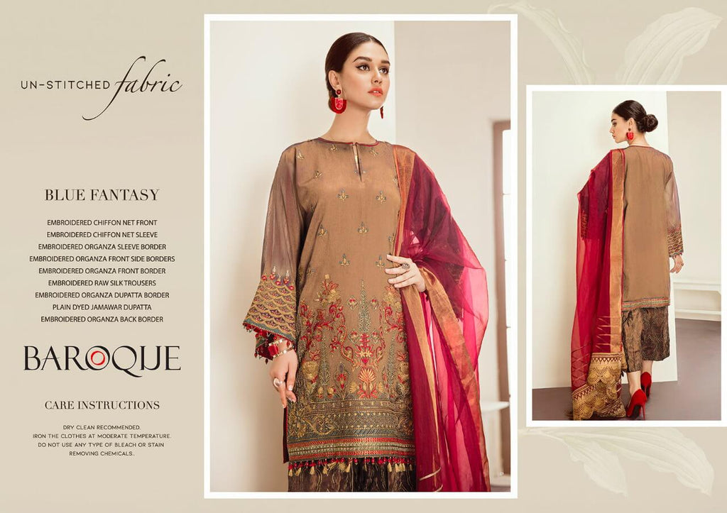 Baroque Embroidered Chiffon 3 Piece Suit Blue Fantasy C-18 Peach - FaisalFabrics.pk