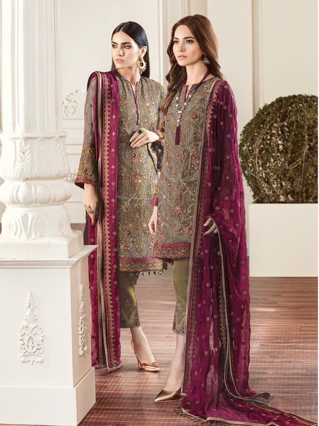 Baroque Chantelle Embroidered Chiffon 3 Piece Suit BQC-01 ROUGE Olive - FaisalFabrics.pk