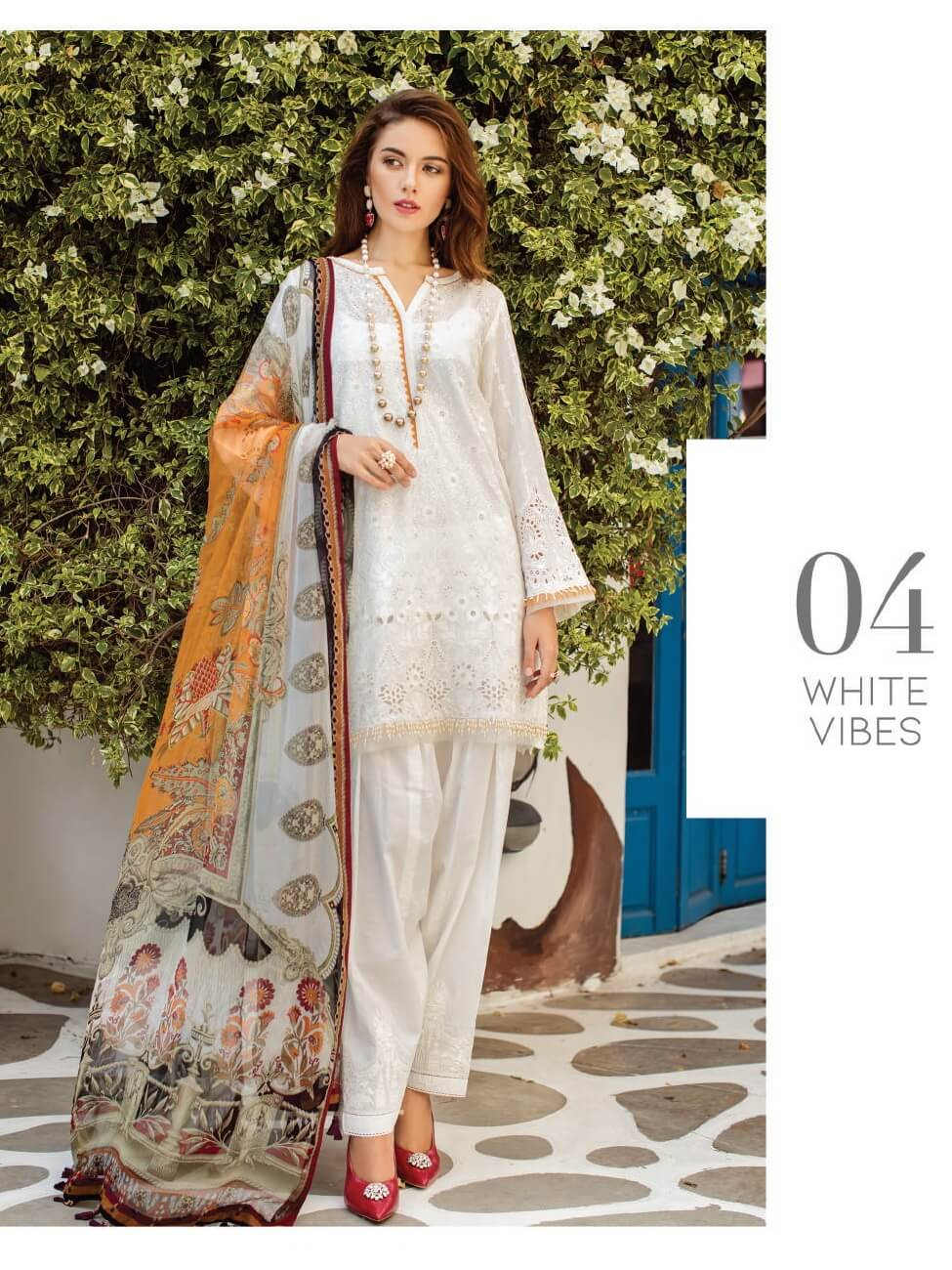 BAROQUE Luxury Swiss Lawn Embroidered 3Pc Suit Summer 2019 D-04 White Vibes - FaisalFabrics.pk