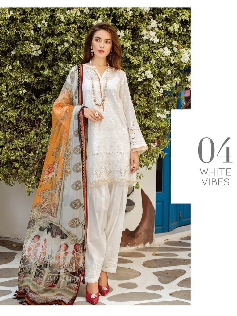 e1f1f7cd6b BAROQUE Luxury Swiss Lawn Embroidered 3Pc Suit Summer 2019 D-04 White Vibes
