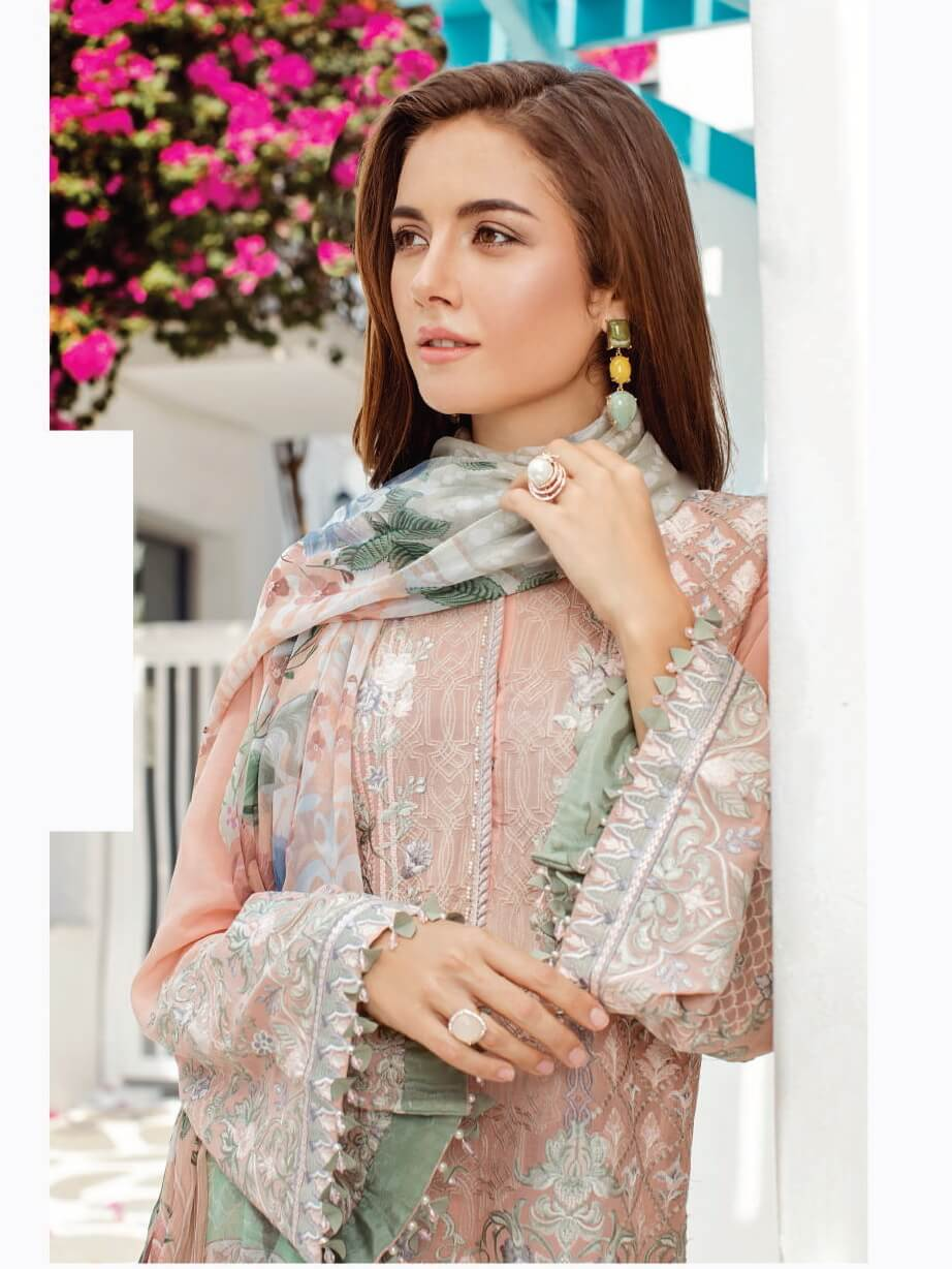 BAROQUE Luxury Swiss Lawn Embroidered 3Pc Suit Summer 2019 D-10 Apricot - FaisalFabrics.pk