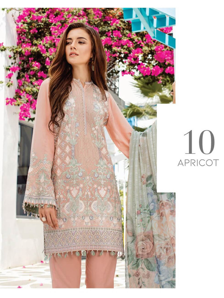 a496611517 BAROQUE Luxury Swiss Lawn Embroidered 3Pc Suit Summer 2019 D-10 ...
