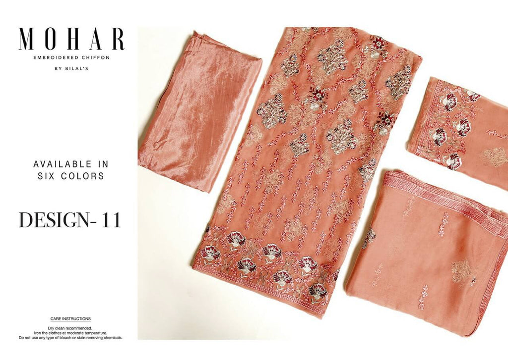MOHAR Embroidered Chiffon Collection 2019 3PC Suit D11 Peach - FaisalFabrics.pk